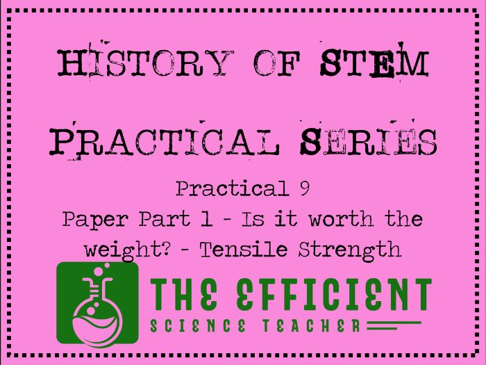 Force and Tensile Strength - History of STEM practicals - Paper Part 1