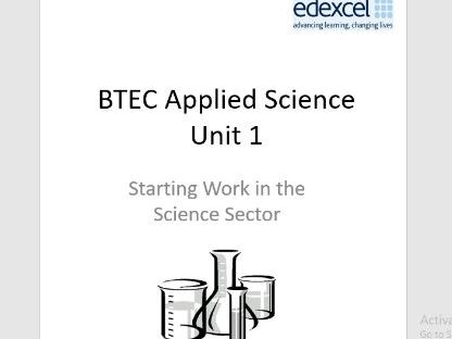 BTEC Level 1 in science Workbook – Unit 1