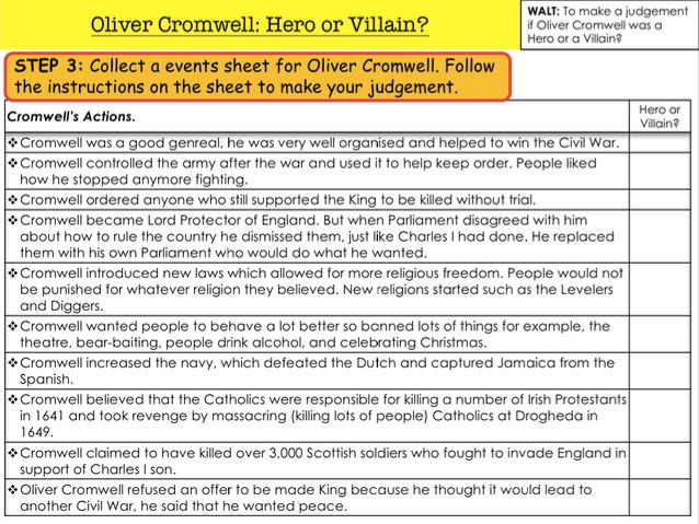 English Civil War Oliver Cromwell: Hero or Villain?