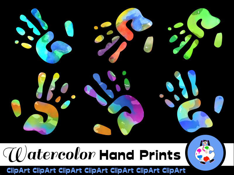 Watercolour Handprint Clip Art