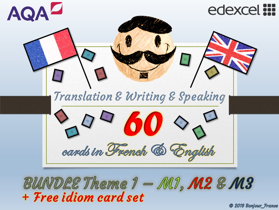 BUNDLE Theme 1 GCSE French - Q&A / Translation Card Sets (Module 1, 2 & 3) + Free Idiom Card set