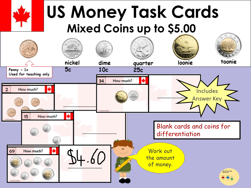 Canada Money Task Cards - Add up Mixed Coins to Value of $5 - Recording Sheet, Blank Cards and Coins