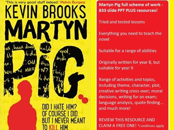 Martyn Pig (Brooks) full scheme of work 83 slide PPT PLUS resources -  fiction