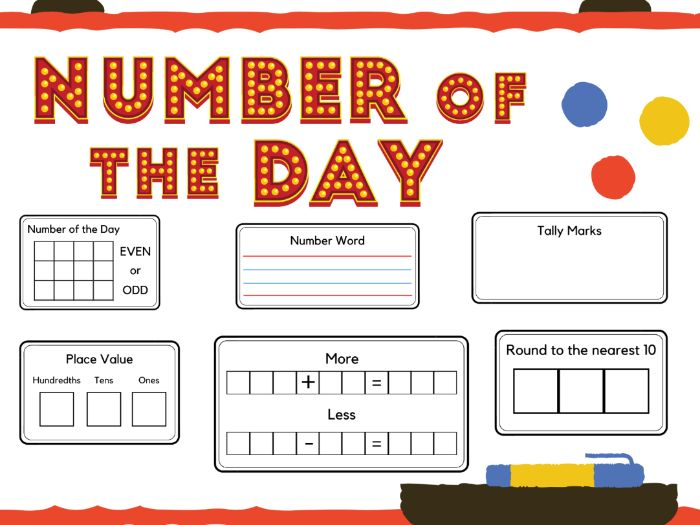 Number of the Day Printable Display