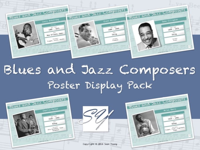Blues and Jazz Composers – Music Classroom Poster Display Pack