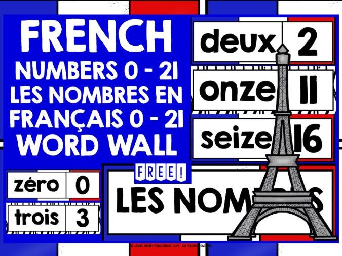 FRENCH NUMBERS WORD WALL