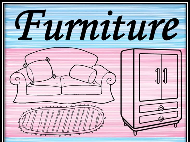 Furniture. Coloring pages.