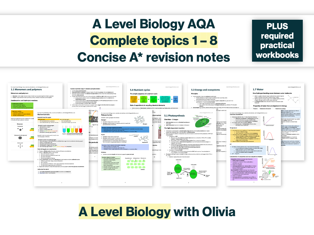 SAVE 60% Concise A* Complete A Level Biology AQA Spec & Mark Scheme Based Revision Notes / Summary (topic 1-8) and required practical workbook