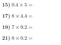 Multiplying decimals (1-digit) by whole numbers up to 10 worksheet (with answers)