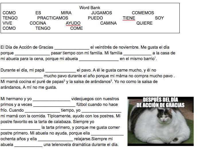Thanksgiving Spanish Reading - Focus Past Tense