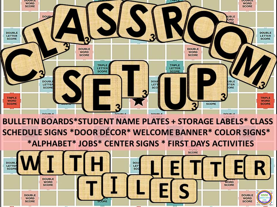 Classroom Set Up With Letter Tiles & Game Board Backgrounds