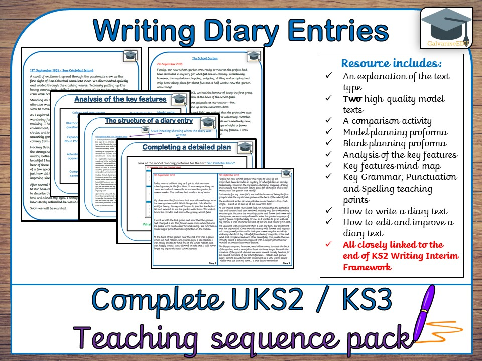 Complete Diary Entry teaching sequence (UKS2 / KS3)