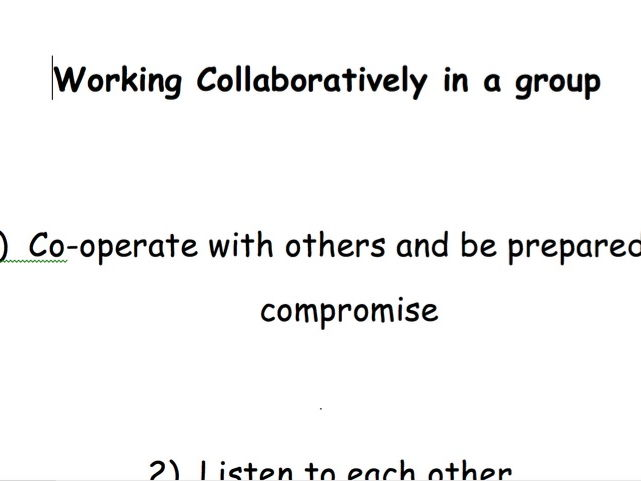 Working Collaboratively in a Group