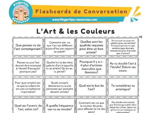 L'Art & les Couleurs - French Conversation Flashcards