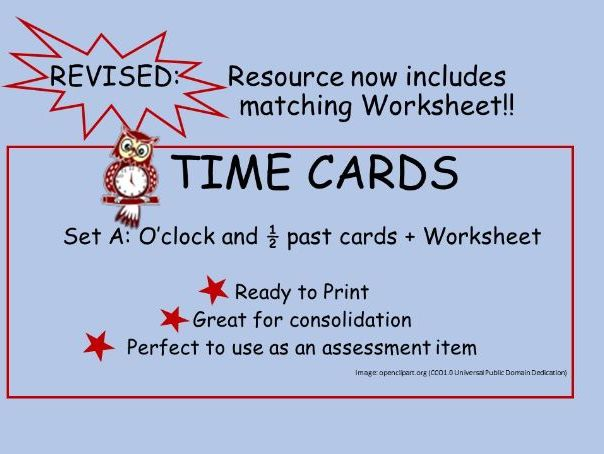 Time Cards: Matching digital and written form+Worksheet