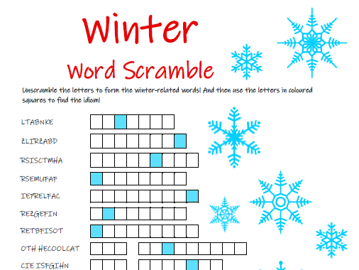 Winter Word Scramble Puzzle