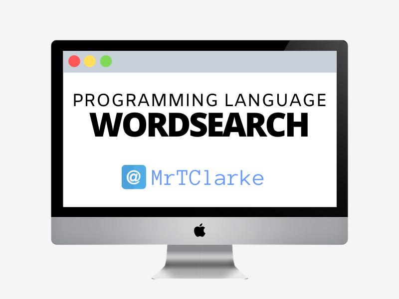 Programming Language Wordsearch