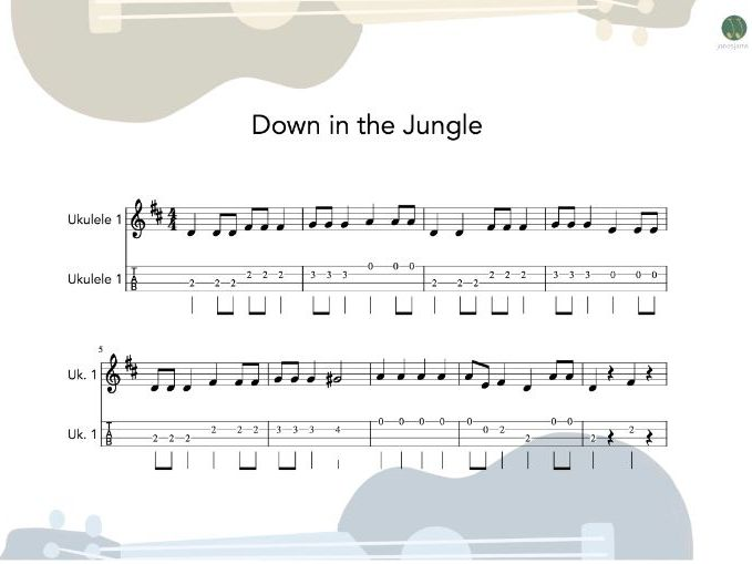 Ukulele Group - Down in the Jungle sheet music and teaching resources