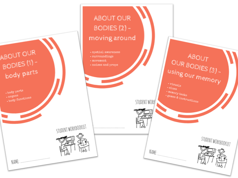 SPECIAL EDUCATION bundle - ABOUT OUR BODIES - body parts, functions, moving around, spaces, memory x3 workbooklets