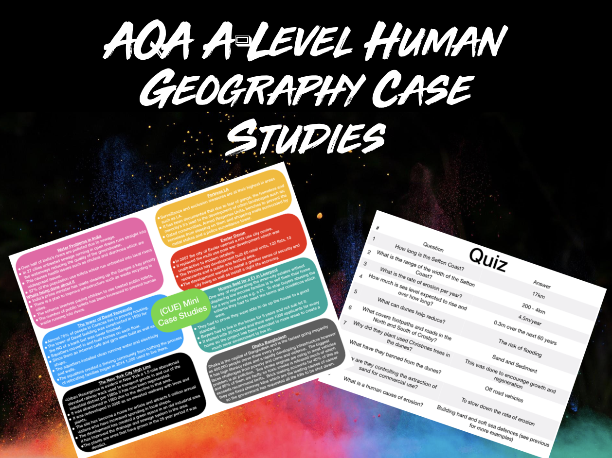 All AQA A-Level Geography Human Case Studies
