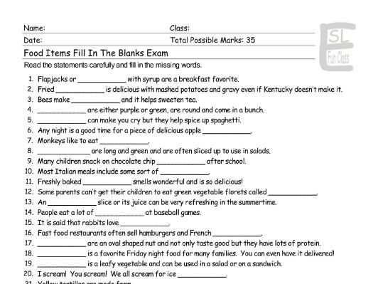 Food Items Fill In The Blanks Exam