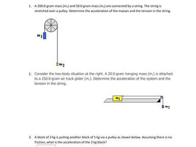 Pulley and Tension Worksheets with Answers