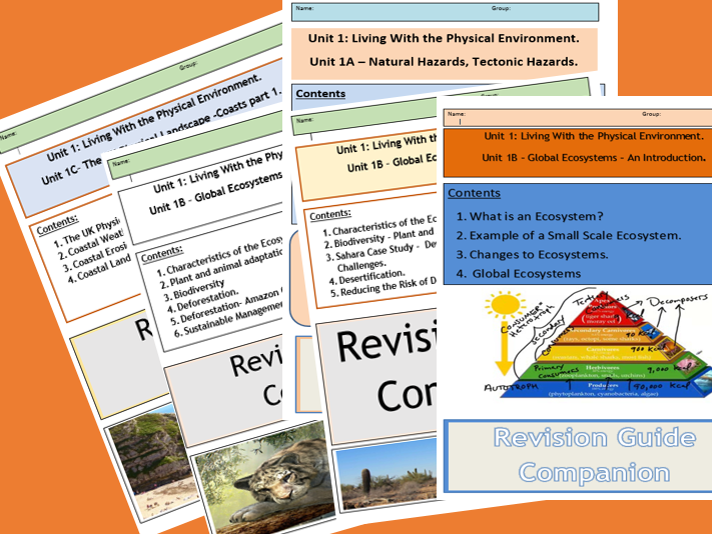 GCSE AQA 9-1 Syllabus Unit 1 Living With the Physical Environment, Revision Booklets - Flipped Learning Bundle.