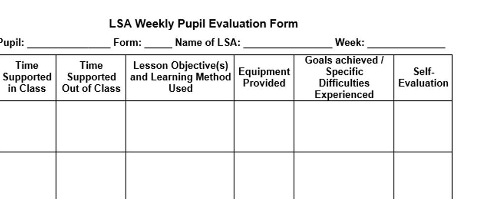 LSA Weekly Pupil evaluation form
