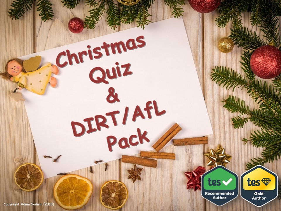 PE Christmas Quiz & DIRT Pack [AfL, Progress, Target Setting, Reflection, Assessment, PSHE, Physical Education]