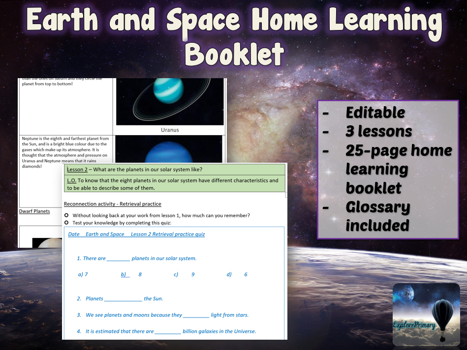 KS2 Earth and Space Home Learning Booklet 1
