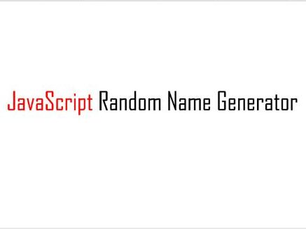 JavaScript Random Name Generator