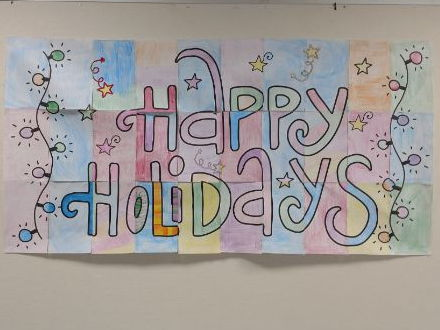 Happy Holidays Collaborative Student Poster - 2 sizes included 20x40 and 30x60