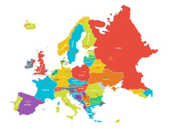El Continente Europeo + La Carta/The European Continent (Countries, Capitals, Nationalities and Lang
