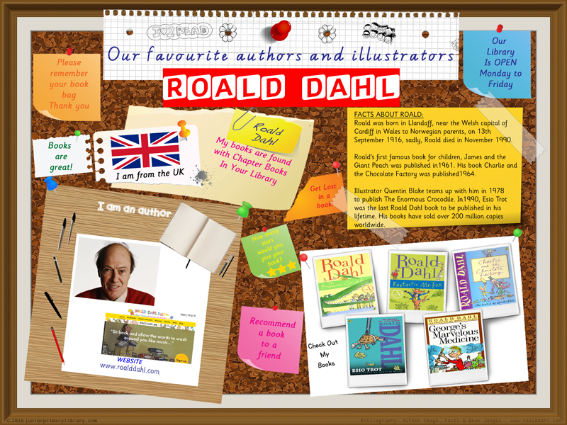 Library Poster - Roald Dahl UK Author Of Chapter Books & Novels