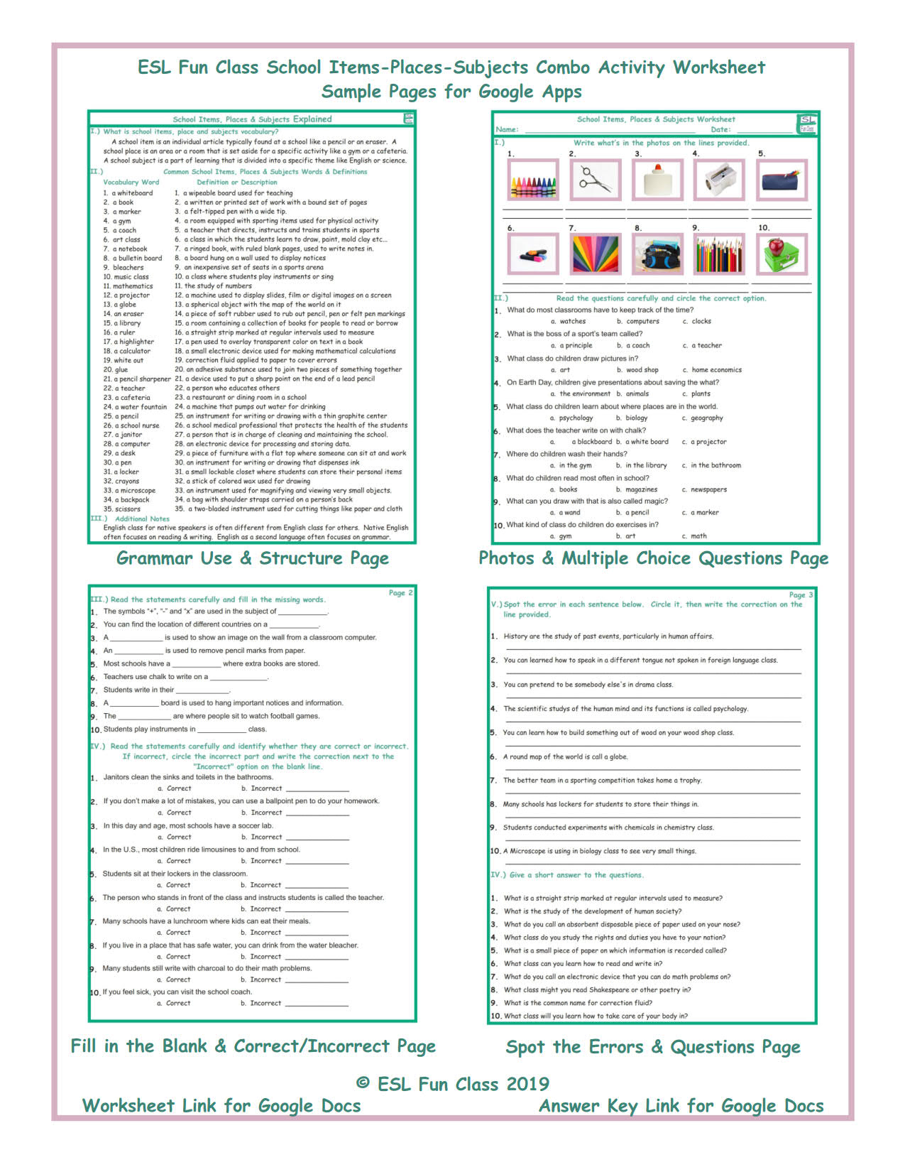School Items-Places-Subjects Interactive Worksheets for Google Apps