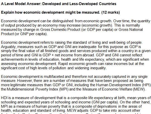 economics essay questions a level
