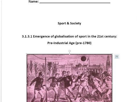 AQA PE New A Level. Sport & Society. Pre-Industrial Age. Workbook.
