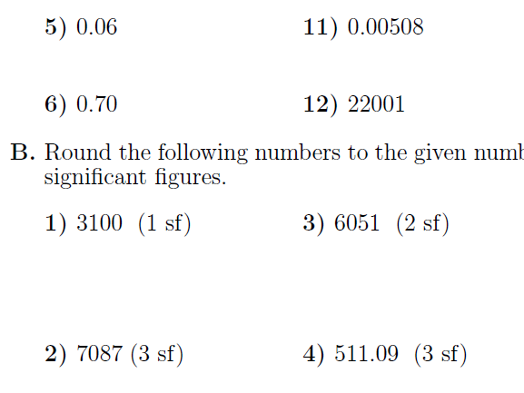 Signifcant figures worksheet (with answers)