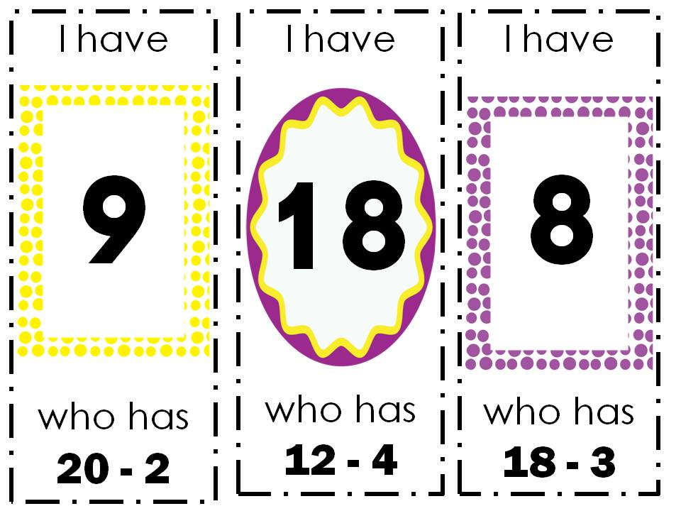 Subtraction Game (I Have...Who Has?)