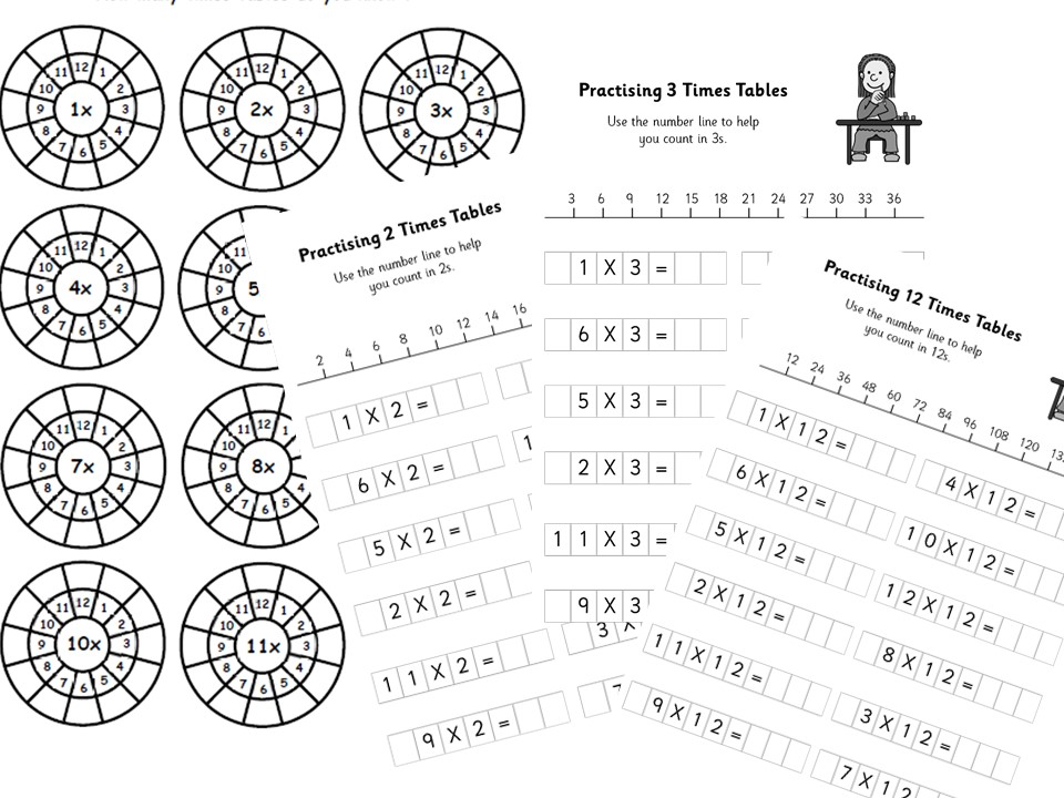 Times Tables Wheels Assessment & Practise Worksheets