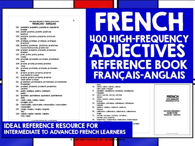 FRENCH ADJECTIVES REFERENCE BOOK 2