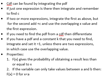 A level Further Maths  - Continuous Random Variables (including function of a related variable)