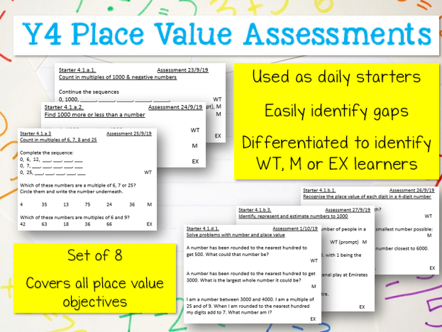 Y4 Place Value Assessment Starters - Differentiated Maths