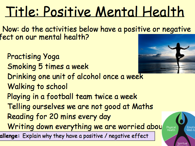 PSHE Health - positive mental health lesson 4