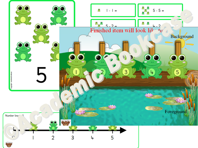 Wall activity - 5 little speckled frogs *REQUIRES WOODEN PEGS + LAMINATING*