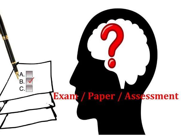 Science exam paper - grade 6 assessment