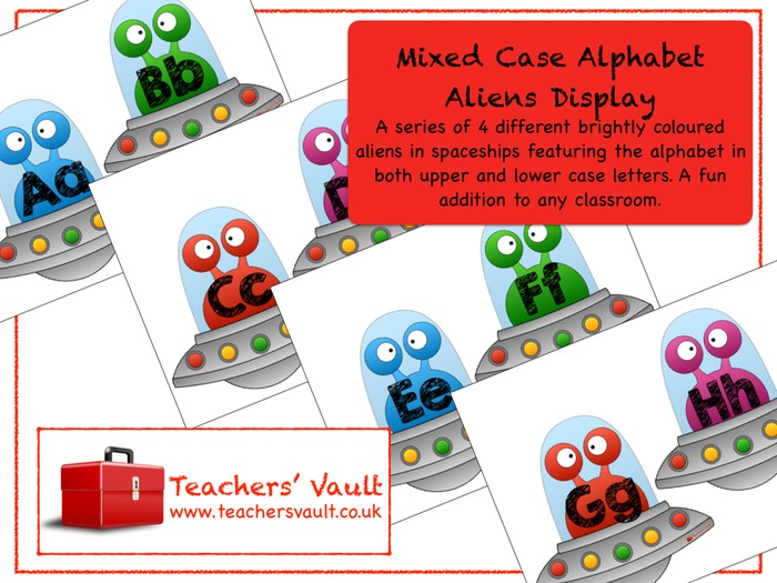 Mixed Case Alphabet Aliens Display