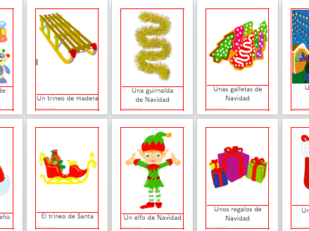 25 Flashcards Christmas Vocabulary in Spanish- Navidad