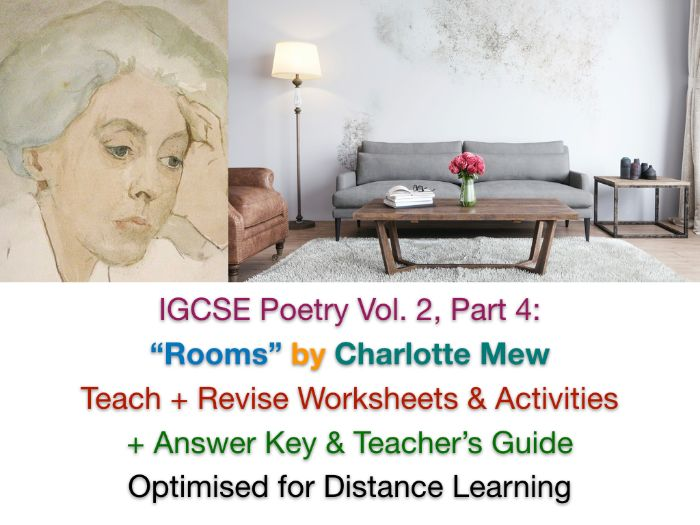 """IGCSE Poetry: """"Rooms"""" by Charlotte Mew - NO PREP TEACH + REVISE + ANSWERS"""