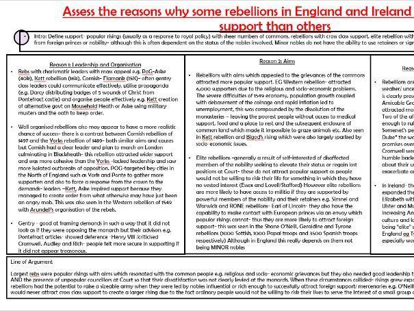OCR Tudor Rebellions Nature of Rebellions Essay Plan
